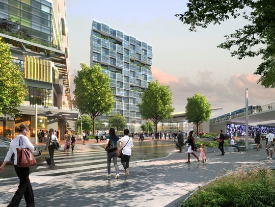 This rendering shows a planned transit hub at Knights