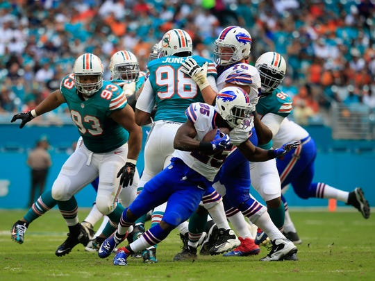 LeSean McCoy was ineffective due to a hamstring injury and left the game in the third quarter.