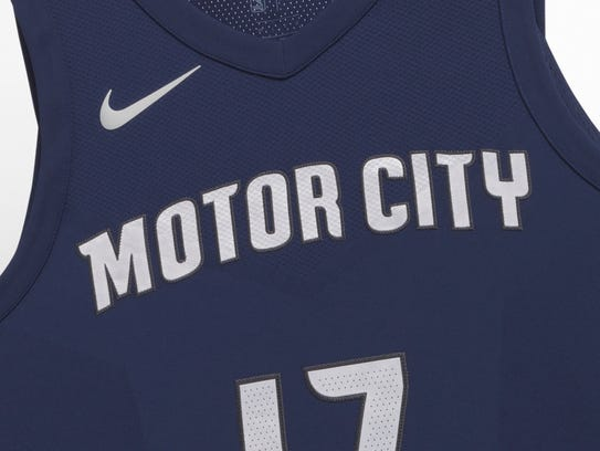 The Detroit Pistons unveiled their new City Edition jerseys on Wednesday, Dec. 27, 2017. The uniforms pay tribute to the spirit of  Detroit with their navy blue base and chrome trims.