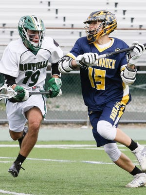 Montville vs, Pequannock during the first half of a boys lacrosse at Montville High School on April 09, 2018.