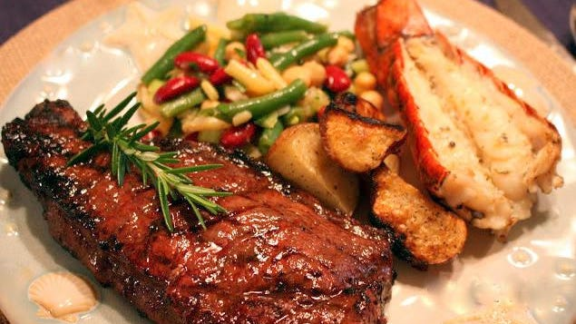 Father's Day plate: Grilled Strip Steak, Garlicky Four Bean Salad and Grilled Lobster Tail.