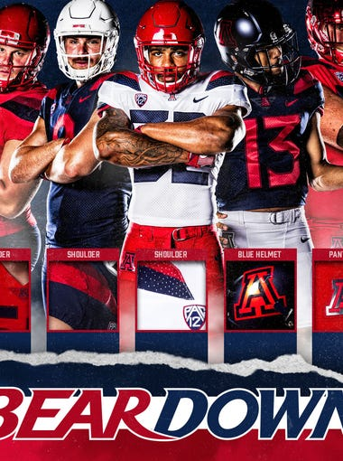 An image showing a multitude of uniform combinations for the Arizona Wildcats.