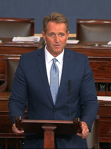 Sen. Jeff Flake, R-Ariz., speaks on the Senate floor Oct. 24, 2017, at the Capitol in Washington. Flake announced he will not run for re-election in 2018.