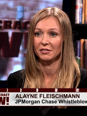 JPMorgan Chase whistleblower Alayne Fleischmann shown in a Democracy Now! interview, her first televised appearance since she went public in a Rolling Stone story about her allegations of criminal securities fraud at the bank.