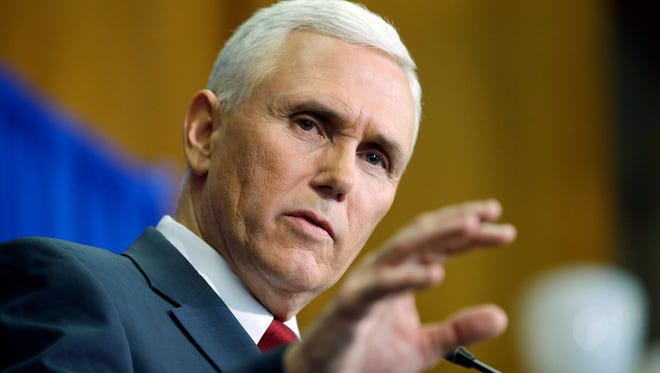 Indiana Gov. Mike Pence speaks during a news conference, Tuesday, March 31, 2015, in Indianapolis.