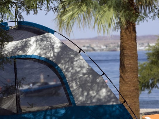 A tent at the campground at Lake Havasu State Park