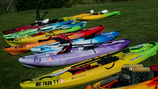 Dozens of kayaks are laid out during the Paddle and Pour festival Friday, August 26, 2016 at Baker's Field in Port Huron Township.