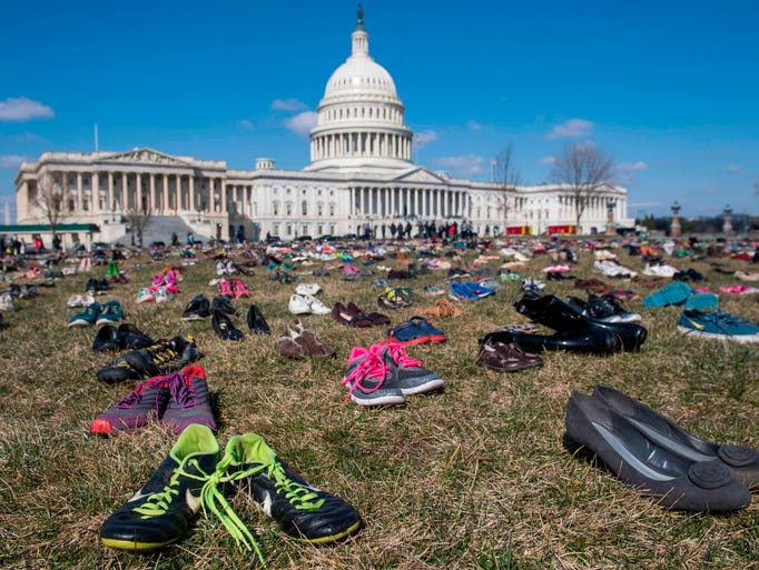 The lawn outside the U.S. Capitol is covered with 7,000