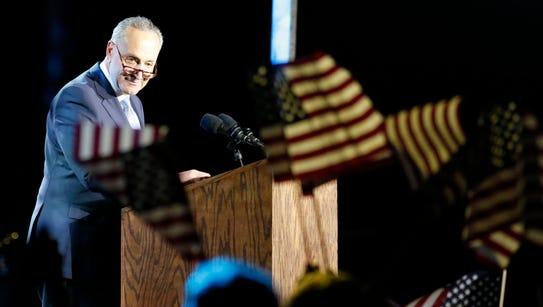 Senator Chuck Schumer (D-NY) speaks outside the Jacob