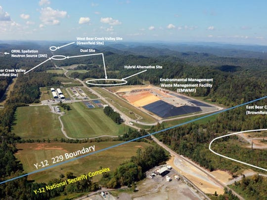 An aerial view of proposed sites for a new low-level nuclear waste landfill on the Oak Ridge Reservations. The U.S. Dept. of Energy Oak Ridge Office of Environmental Management examined 16 sites to identify the best locations for onsite disposal and has selected four potential locations in the Bear Creek Valley. (DEPARTMENT OF ENERGY)