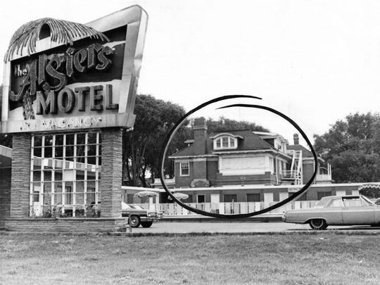 The Manor House, circled, where three young men were found slain in late July 1967. It is a three story home turned into an annex for the Algiers Motel, 8301 Woodward Avenue in Detroit.