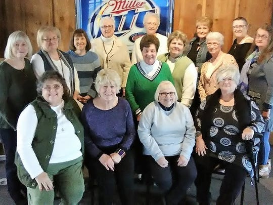 Girls' Lunch - Logan's Road House was the scene for the first meeting this year of members of the Girls Reitz Class of 1966 group.  Lively discussion was held including discussion regarding the Class of 1966 70th birthday party that is scheduled for October 6th at the Bishea House at Burdette Park.  In the photo are, back row left to right, Donnella Greenfield Hall, Pam Craig Martin, Carolyn Belcher Wuertz, Becky Remole Sovern, Alanna Hooe Welch, Brenda Rickard Strieter, Vicki Webber Hammelman and Debbie Byers Dierlam; middle row left to right, LaDonna Grimm Hight, Kathy Frank Burkdoll and Mona Remole Black; seated left to right are Beverly Reid Preske, Marcia Dosch Murray, Lynda Beerwart Adams and Patty Hollander Brown.