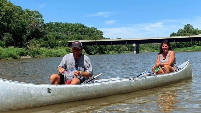 Chris and Cathy Demarais of Crookston, shown in the photo, are among a group that frequently canoe the Red Lake River.