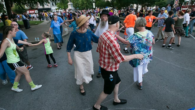 Eddie and Lynne Martin along with Murfreesboro City Councilman Doug Young and his wife, Susan Young, were among the dancers trying to break the record.
