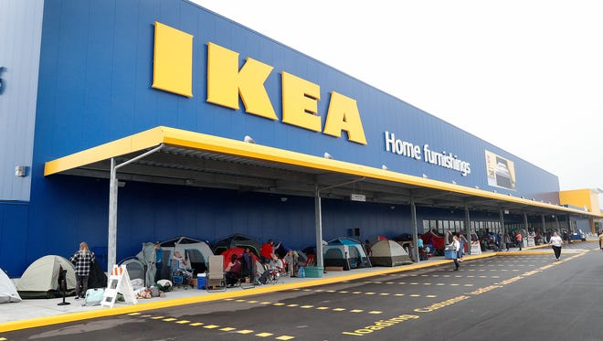 First in line for shopping but for now they are campers for the next two days until the grand opening of the IKEA  store in Fishers, Monday morning Oct 9, 2017.