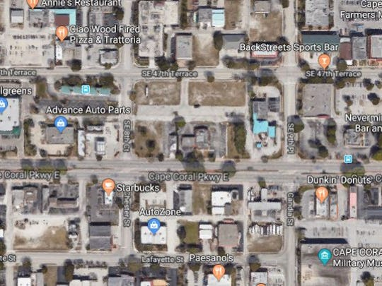 A snapshot of Google Maps showing the block where crews will break ground on the long-discussed Village Square project in the coming months, according to the developer. The development will be on the block bordered by Cape Coral Parkway, SE 47th Terrace, SE 8th Court and SE 9th Place.