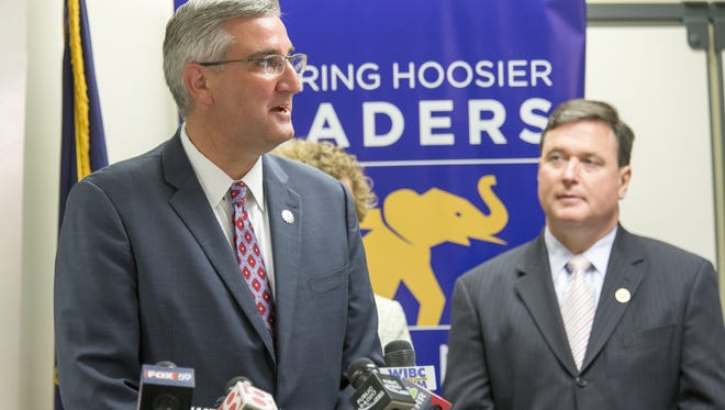 Eric Holcomb, the Republican candidate to fill Mike Pence's spot as Indiana governor, is announced in a conference room downtown, Indianapolis, Tuesday, July 26, 2016.