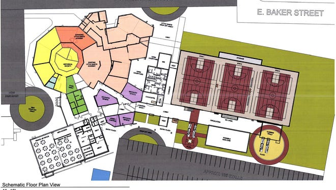 A concept plan shows gyms and other space at a proposed St. Joseph community center.