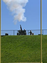 Comatose, the ROTC cannon at Colorado State University football games, fires at Hughes Stadium.