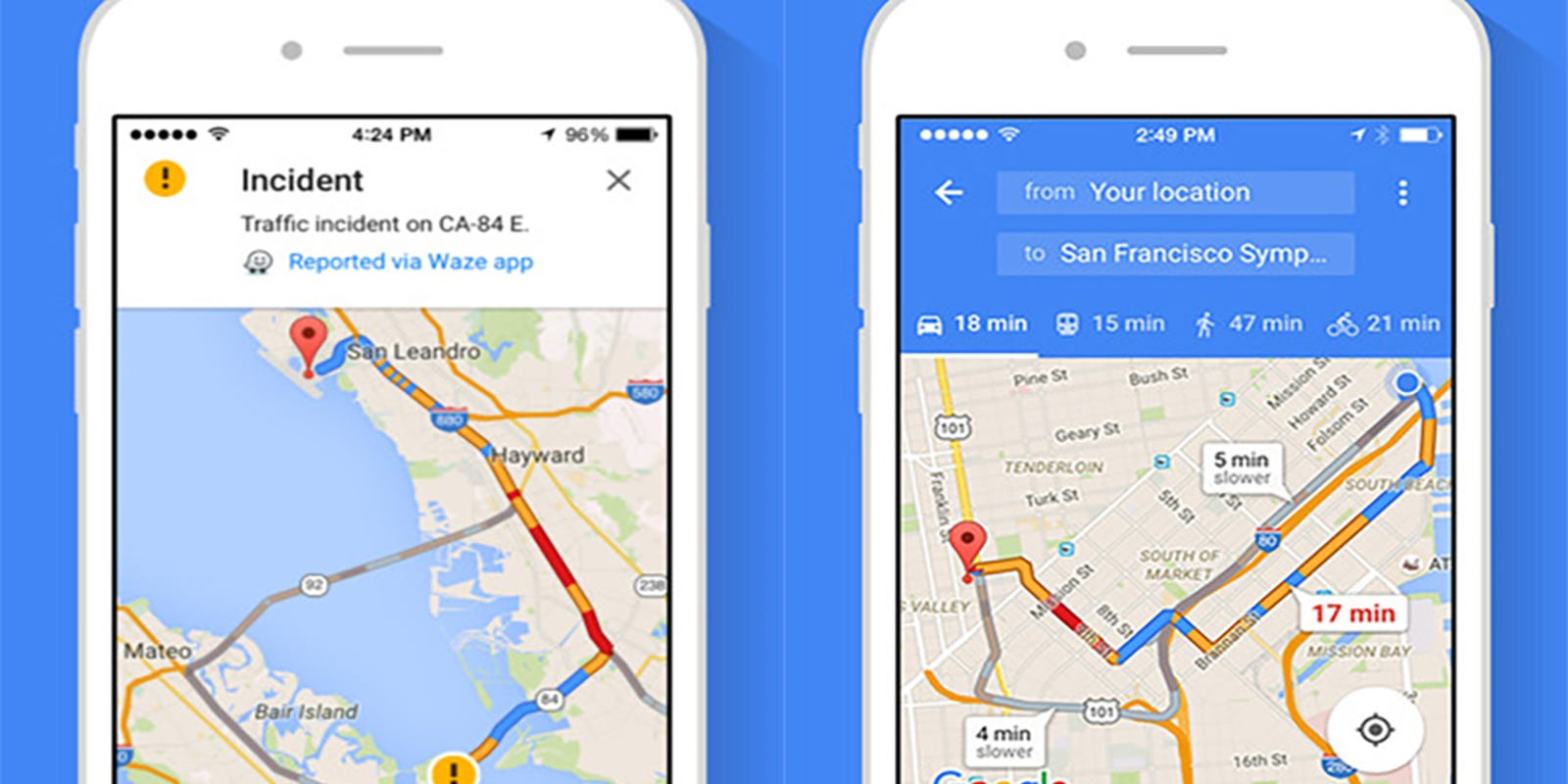 This is how Google Maps knows which route is the fastest at