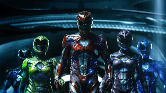 """The five heroes from the recently released """"Power Rangers"""" movie decked out in their fighting suits"""