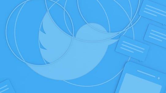 Twitter's signature bird in a blue blog background.