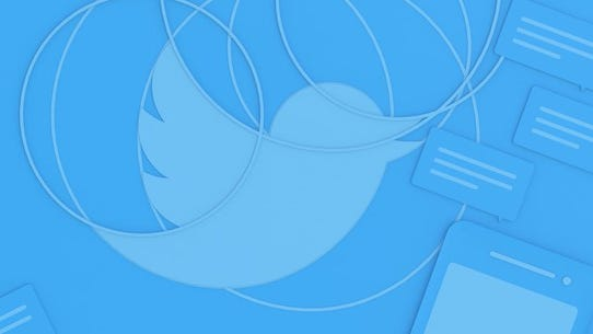 Twitter mascot in a blue background.