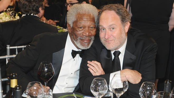 'Last Vegas' star Morgan Freeman, left, and his director Jon Turteltaub at AFI's 41st Life Achievement Award Tribute to Mel Brooks.