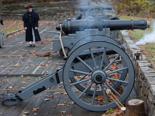 A 3-pound iron gun — as cannons were called during
