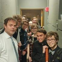 Rainn Wilson, left, poses for a photo with the Lawrence University Viking Bassoon Ensemble.