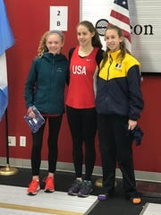 Junior Zoe LaMonte, far right, has been in Los Angeles for the past week representing the United States in the 2017 World Cup Modern Pentathlon, which ends today.