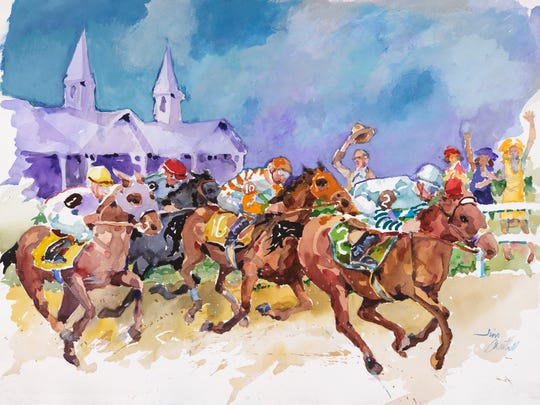 A watercolor by Kentucky artist Jim Cantrell that is the 2017 official Kentucky Derby image chosen by Churchill Downs.