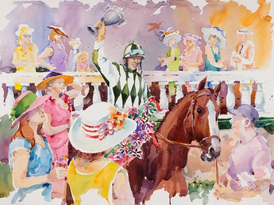 A watercolor by Kentucky artist Jim Cantrell that is the 2017 official Kentucky Oaks image chosen by Churchill Downs.