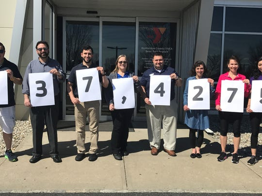 More than 180 staff members at the Hunterdon County YMCA have contributed a total of $37,427 to the organization's Annual Campaign. From left: Bobby Bartus, Michael Reisman, Jeff Gold, Jeanne Imholz, Mike Triano, Lisa Buckley, Teri Saccal and Ivanna Lam.