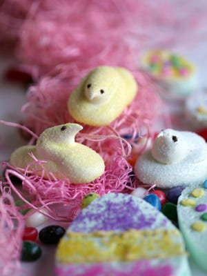 Marshmallow easter chicks and other treats. Monday, April 2, 2012.