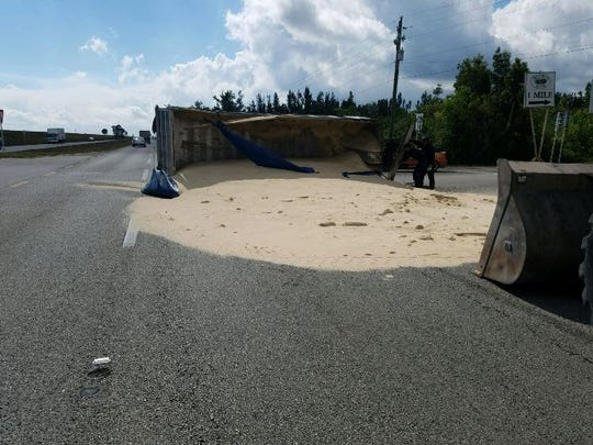 A truck overturned at U.S. 27 an Evercane Road in Clewiston