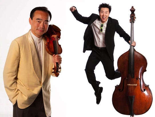 Violinist Cho-Liang Lin, left, and bassist DaXun Zhang,