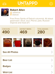 Users of the Untappd app can rate, share and catalog beers they've tried, as seen in this March 15, 2016 iPhone screen grab.