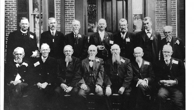 The seventh reunion of Richmond's 69th Indiana regiment, was held in Winchester, Ind., on Aug. 27, 1891. Pictured are (back row, from left) Joseph Iliff, Alonzo Marshall , Lafayette Larsh, William Hollopeter, Rufus Newman, unknown; (front row, from left) Lewis K. Harris, Allen Grave, Allen Coggeshall, George Irwin, and J. Stewart Bolander.