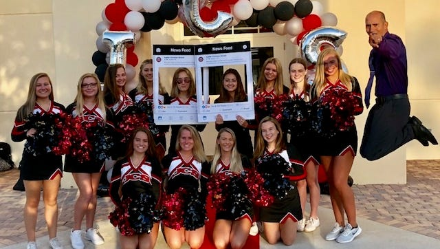 "The first day back to school - Aug. 15 - was a ""Red Carpet Welcome Back""  with Jupiter Christian School Varsity Cheerleaders and Upper School Principal Joe Zambrano."