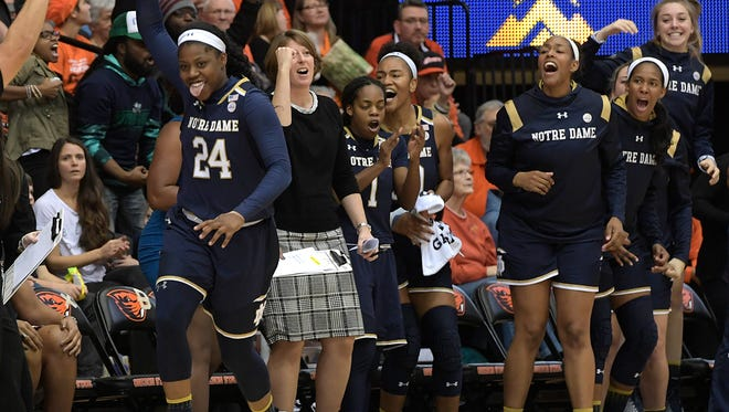 Notre Dame's Arike Ogunbowale celebrates her three-pointer during the second half an NCAA college basketball game against Oregon State at Gill Coliseum in Corvallis, Ore., Sunday Nov. 19, 2017. Notre Dame won 72-67.