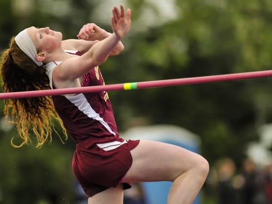 Meghan McGonigle of Gloucester Catholic competes in  the high jump in the NJSIAA Non-Public South A Track and Field Championships at Donovan Catholic High School on May 22, 2018.