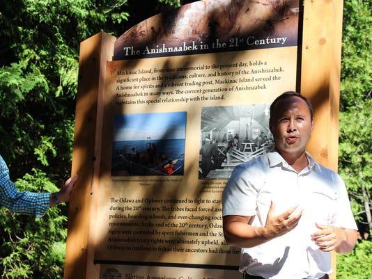 Historical markers on Mackinac Island