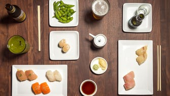 Trust Me chef's tasting menus are a signature at Sugarfish, with a daily assortment of sushi and unlimited organic edamame.