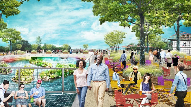 This is an artist's rendering of a busy day at Atwater Beach, one of five Detroit projects awarded grants in the Knight Cities Challenge.