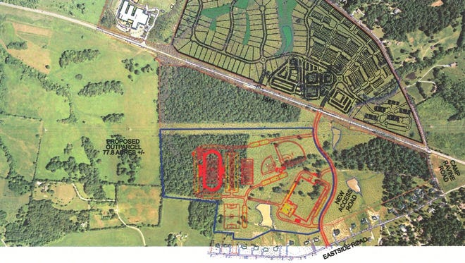 Drawing by James + Associates showing a possible location of a new Burns middle-high school on McCall family property just south of Highway 96. Stuart Burns Elementary is in the top left .