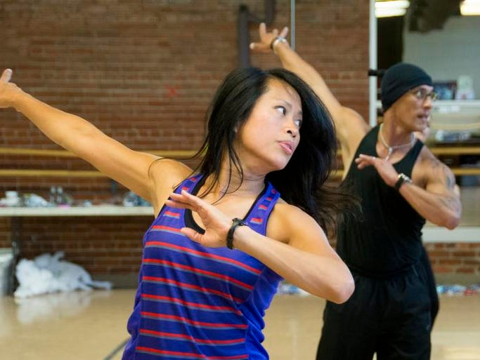 Rowena Litao is a regular in the Latin Dance class led by Marden Ramos at the open adult dance class at the Richland Academy Tuesday afternoon.