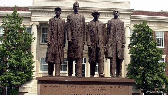 Statue honoring the four students from NC A&T University