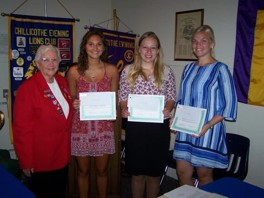 Pictured from left to right are Joy Cox, Lioness scholarship chairperson; Jerring Copley; Taylor Rawlings; and Kayla LeMaster.