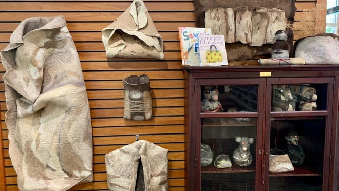 Sharon Kissack displays her felted artwork at Mendon Public Library in Honeoye Falls.